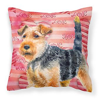 Carolines Treasures  BB9787PW1414 Welsh Terrier Love Fabric Decorative Pillow