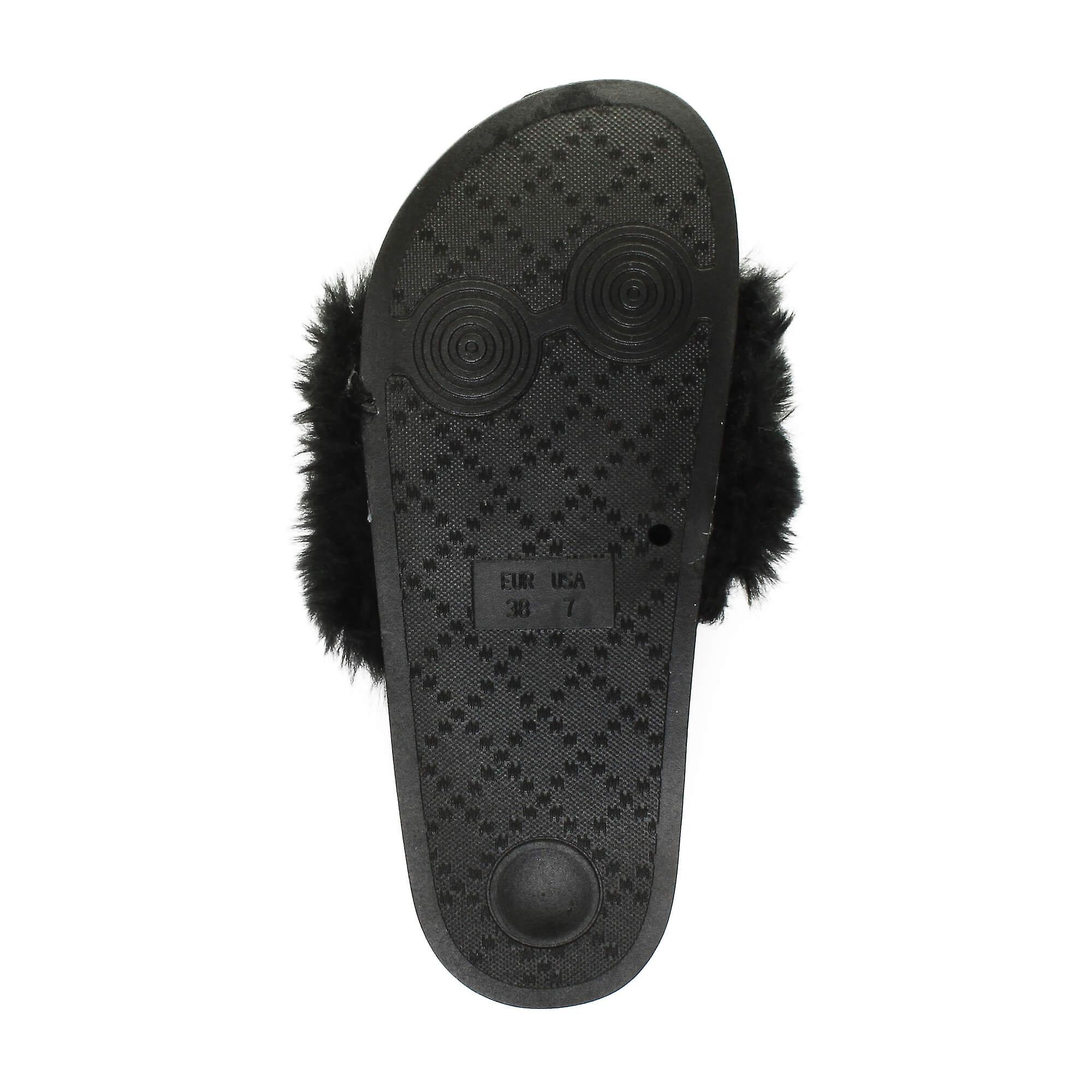 comfort slippers Ajvani open flop flip flat toe womens fur on slip sliders mules sandals comfy rwqC0wFSO