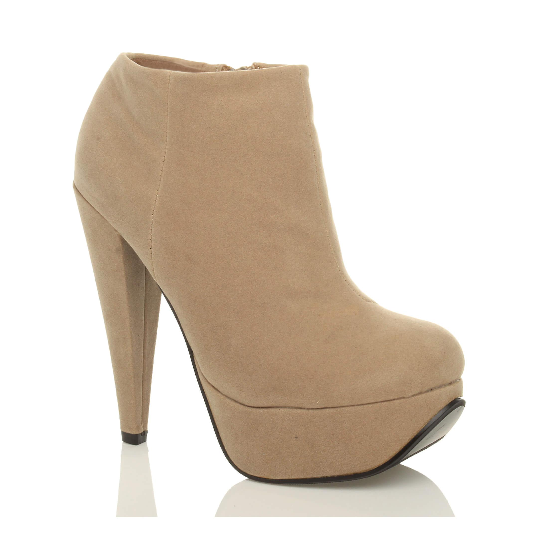 Ajvani womens platform high heel contrast metallic zip ankle shoe boots booties