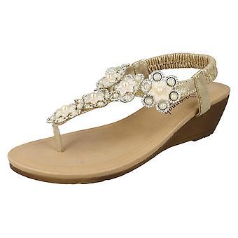 Ladies Savannah Mid Wedge Toepost Flower Trim Sandals F10790