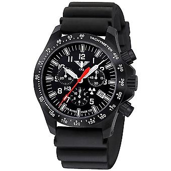 KHS horloges mens watch zwarte peloton chronograaf KHS. BPCLDR. DB