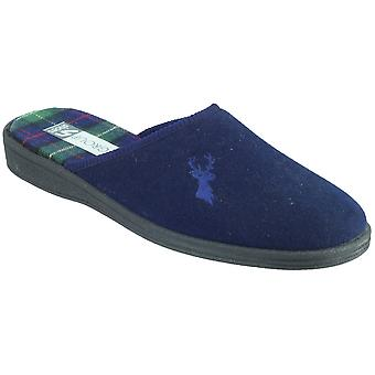 Mirak Mens Buck Embroidered Stag Accent Textile Mule Slipper Navy