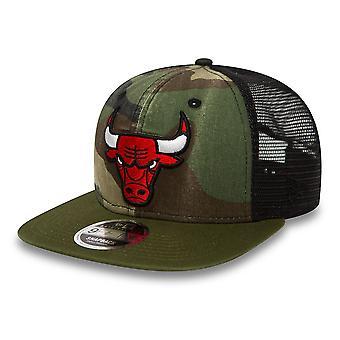 New Era 9Fifty Flatbill Washed Camo Snapback Cap ~ Chicago Bulls