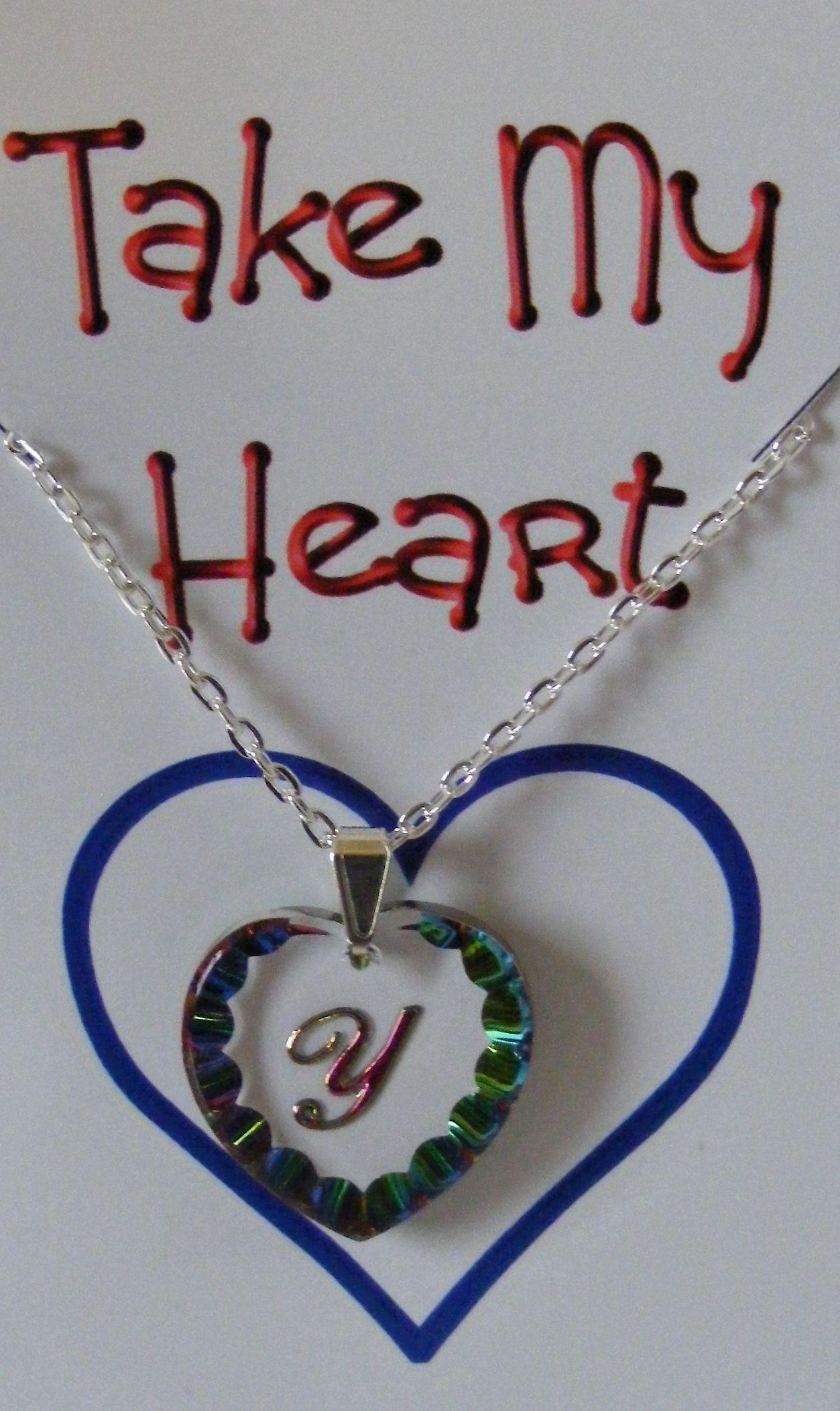 Heliotrope Initial Heart Crystal Pendant - Y