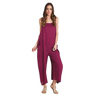 Ladies Lightweight Loose Fit Linen Dungarees - Plum One Size Wide Leg Overalls