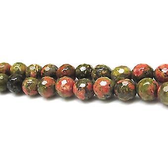 Strand 60 + zielony/pomarańczowy Unakite 6mm szlifowane koraliki okrągłe GS12085-1
