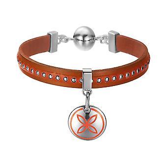 ESPRIT женщин кожаный браслет нержавеющая сталь процветает оранжевый ESBR11435B190