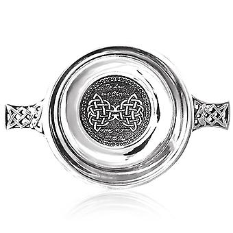 To Love and Cherish , To Have and Hold Celtic Pewter Wedding Quaich - 3.5