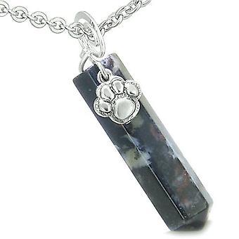Amulett Glück Wolf Pfote Crystal Point Drachen Blut Edelstein geistigen Schutz Anhänger Halskette