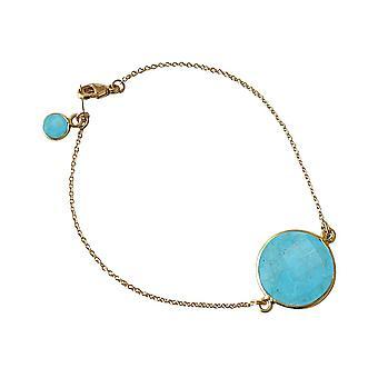 Gemshine - donna - Bracciale - placcato oro - turchese - blu - sfaccettato - 19 cm