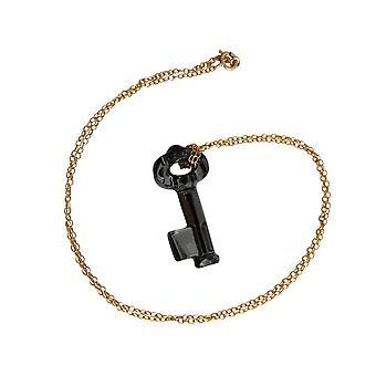 Collier plaqué or avec élément clé cristal