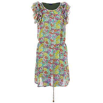 Ladies Frill Shoulder Pearl Trim Floral Print Chain Belt Women's Chiffon Lined Dress