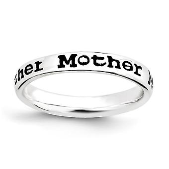 Sterling Silver Patterned Black Enamel Rhodium-plated Stackable Expressions Polished Enameled Mother Ring - Ring Size: 5