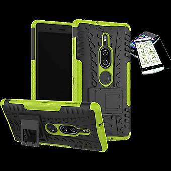 Für Sony Xperia XZ2 Premium Hybrid Case 2teilig Grün Tasche Hülle + Hartglas Neu