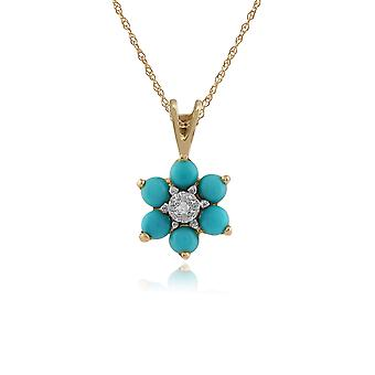 Gemondo 9ct Yellow Gold 0.49ct Floral Turquoise & Diamond Pendant on Chain