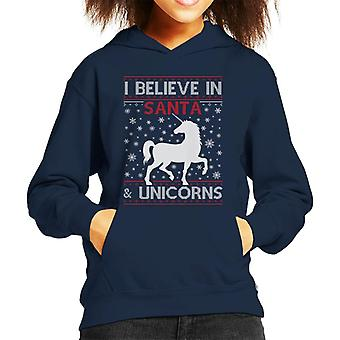 I Believe In Santa And Unicorns Christmas Knit Pattern Kid's Hooded Sweatshirt