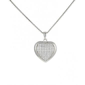 Cavendish francese CZ e argento convessa bordata pendente cuore con 16-18