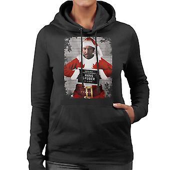 Christmas Mugshot Hans Gruber Women's Hooded Sweatshirt