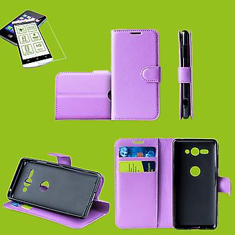 For Huawei P smart 2019 / honor 10 Lite Pocket wallet premium purple protection sleeve case cover pouch + 0, 26mm H9 2.5 hard glass