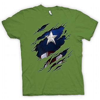 Womens T-shirt - Retro Captain America Super Hero Ripped Design