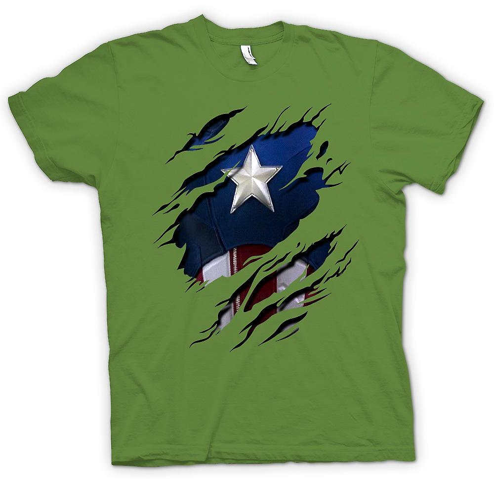 Mens T-shirt - Retro Captain America Super héros déchiré Design