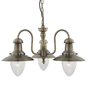 Searchlight 5333-3AB Fisherman Antique Brass 3 Light Pendant