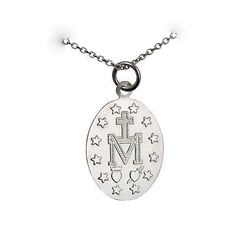 Silver 20x16mm Miraculous Medallion Medal Pendant with a rolo Chain 14 inches Only Suitable for Children