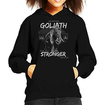 Goliath Elephant Stronger Than You Think Kid's Hooded Sweatshirt