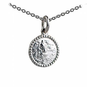 Silver 13mm round beaded edge St Christopher Pendant with a rolo Chain 24 inches Only Suitable for Children