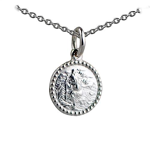 Silver 13mm round beaded edge St Christopher Pendant with a rolo Chain 14 inches Only Suitable for Children