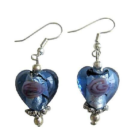 Blue Heart Millefiori Self Designed Bead Earrings w/ Bali Silver