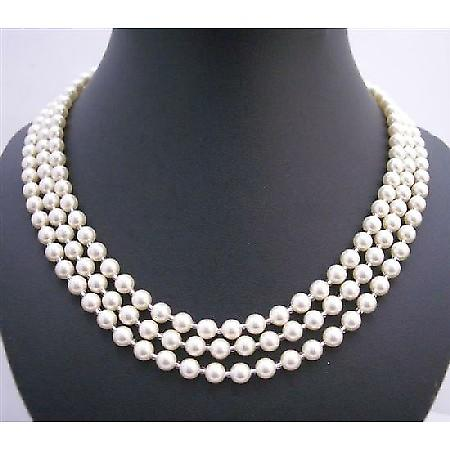 Genuine Swarovski Lite Cream Pearl 59 Inches Long Necklace w/ Japanese Glass Beads As Spacer Necklace
