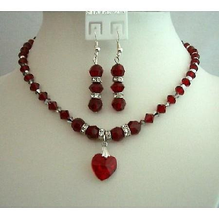 Bridal & Bridesmaid Jewelry Siam Red Crystals Heart Pendant Jewelry