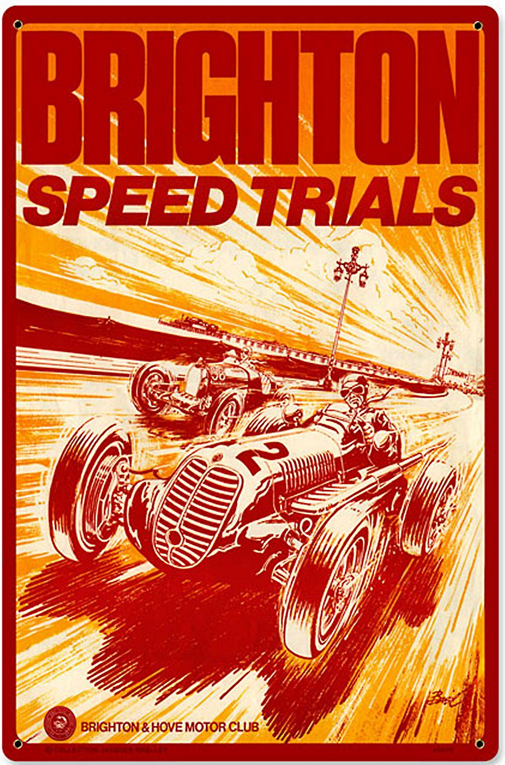 Brighton Speed Trials rusted metal sign    (pst 1812)