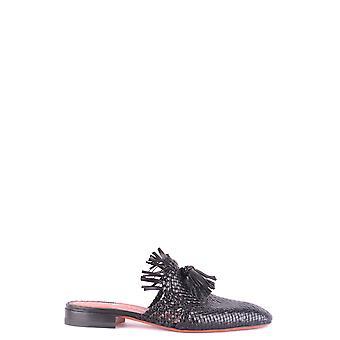 Santoni Black Leather Slippers