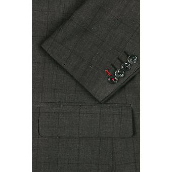 ・ ドベル メンズ炭 2 ピース スーツ レギュラー フィット ピーク ラペル窓からすのチェック