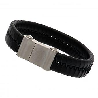 Leicester City Single Plait Leather Bracelet