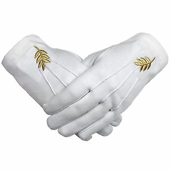 Masonische Akazienblatt Stickerei White Cotton Handschuhe