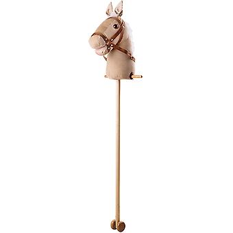 Bigjigs Toys Beige Cord Hobby Horse with Handles, Wheels Activity Traditional