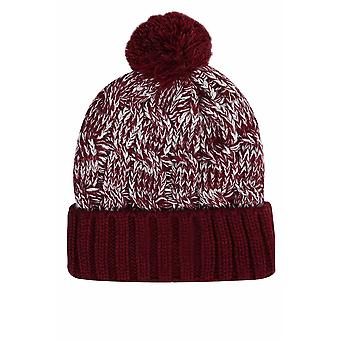 SANTA MONICA Burgundy Knitted Bobble Hat