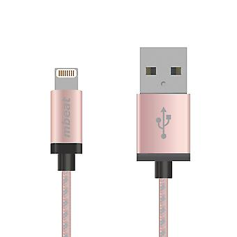 mbeat 2m Aluminum & Nylon Braided Lightning Cable - Rose Gold
