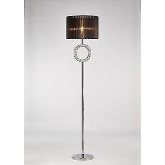 Florence Round Floor Lamp With Black Shade 1 Light Polished Chrome/crystal