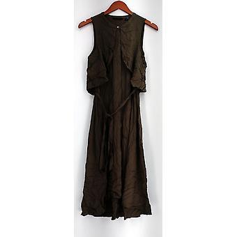 H von Halston Kleid fliegen weg Midi Shirt Kleid braun A276415