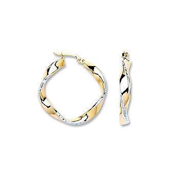 Eternity 9ct 2 Colour Twisted Hoop Earrings