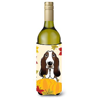 Basset Hound Thanksgiving Wine Bottle Koozie Hugger BB2049LITERK