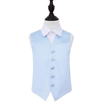 Boy's Baby Blue Plain Satin Wedding Waistcoat