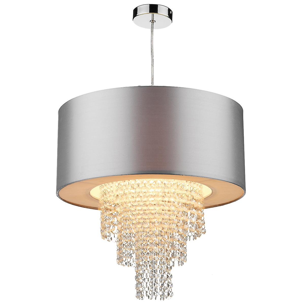 Dar LOP6532 Lopez Easy Fit Non Electric Crystal Glass Drum Pendant
