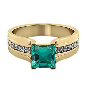 Ctw de 2.20 or jaune 14K bague émeraude diamants pont canal mis princesse