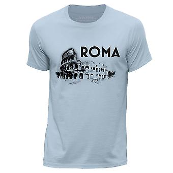STUFF4 Men's Round Neck T-Shirt/Rome Landmark Sketch/Sky Blue