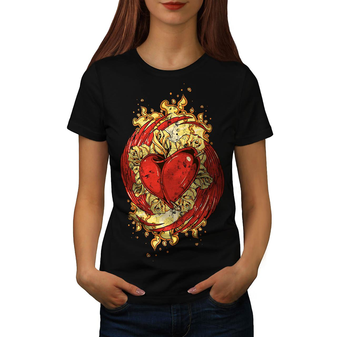 Love Heart Wing Lust Beat Organ Women Black T-shirt | Wellcoda